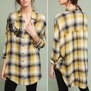 {Anthro} Maeve Embroidered Plaid Button Down Tunic